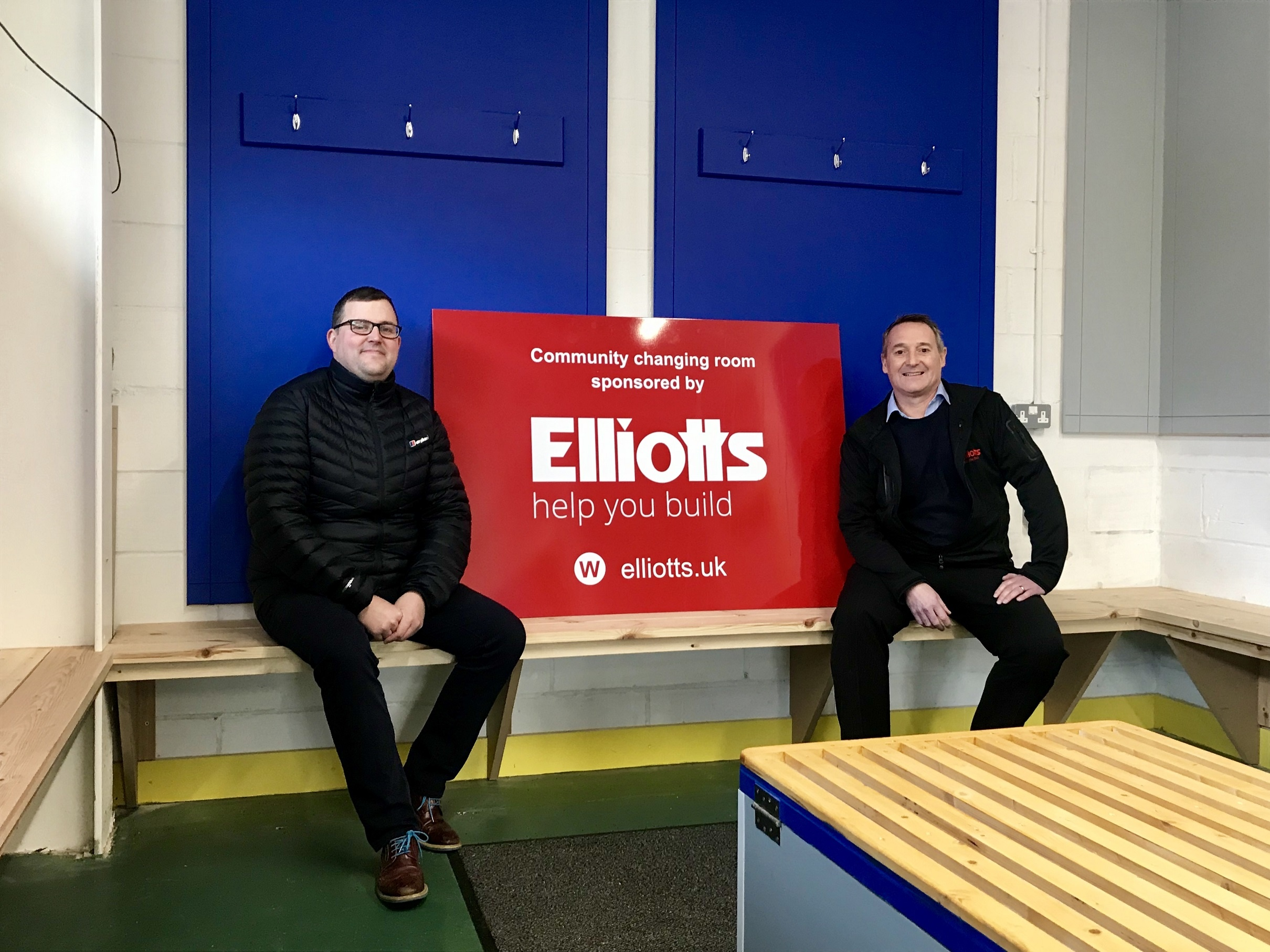 Eastleigh FC Chief Executive, Kenny Amor, and Elliotts Southampton Branch manager, Richard Sheath, in the new changing room