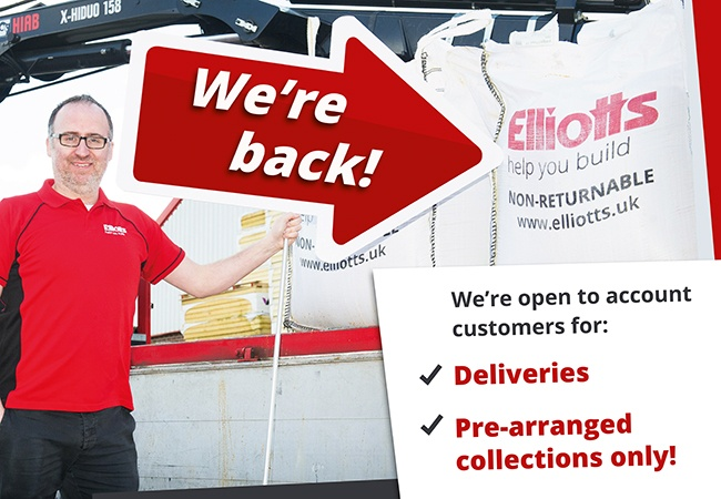 We're back in business for deliveries and pre-booked collections only!