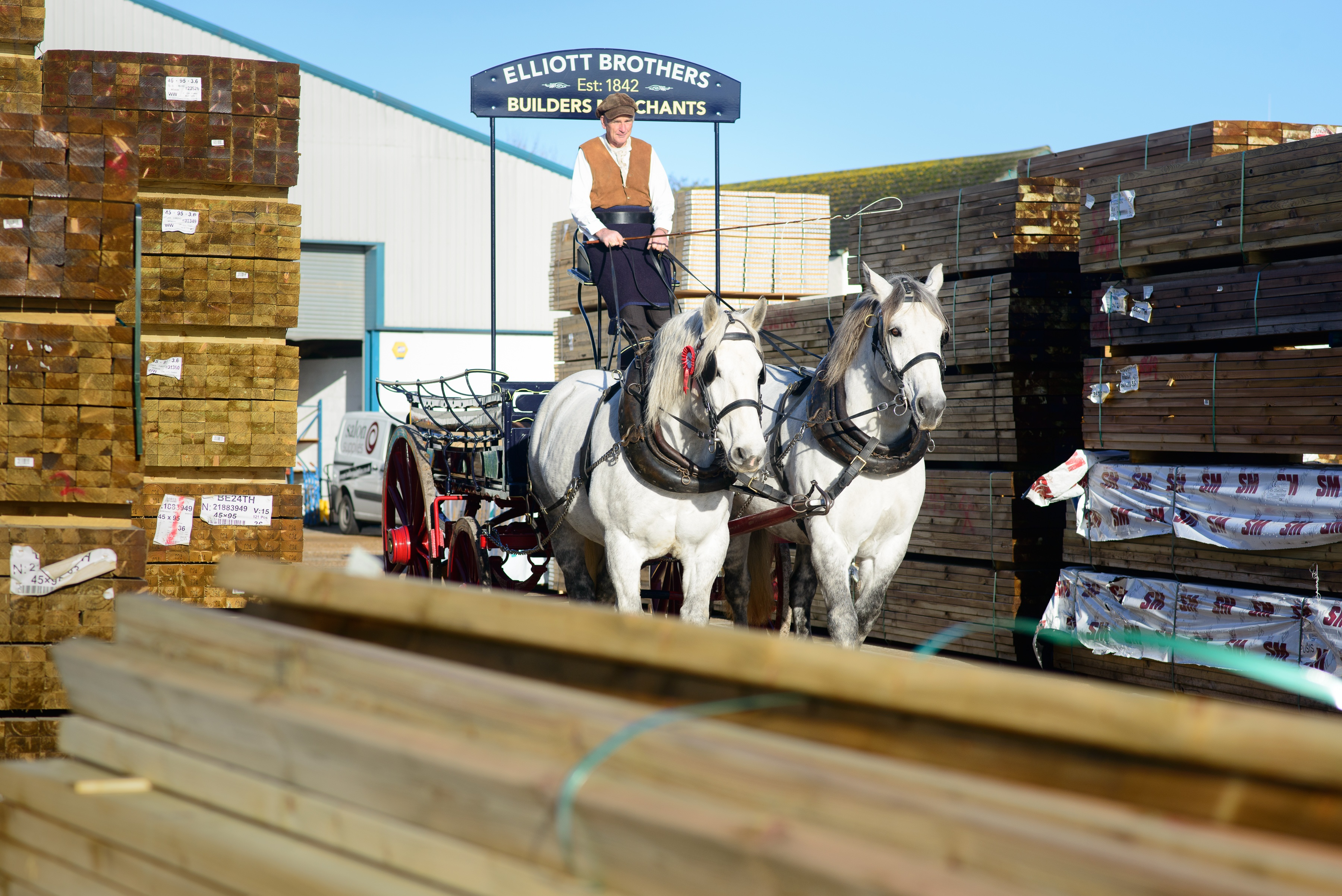 The horse and cart arriving into the timber yard