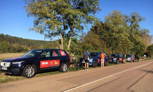 Team cars parked up during the challenge