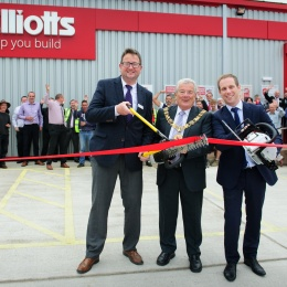 Cutting the ribbon in true builders' style