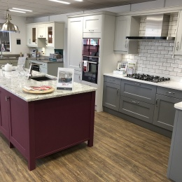 Claret-painted Masterclass kitchen island