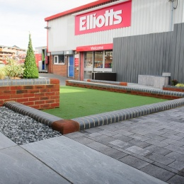 Landscaped area with Elliotts in background
