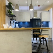 Kitchen with breakfast bar at our Lymington showroom | Elliotts