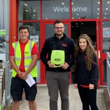 Members of the Tadley branch with their in-branch defibrillator | Elliotts
